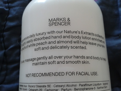 Marks and Spencer Fruity Peach and Almond Hand and Body Lotion Usage