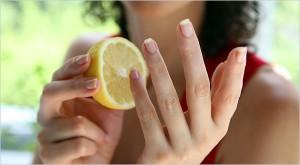 Rub Lemon to solve yellow nails