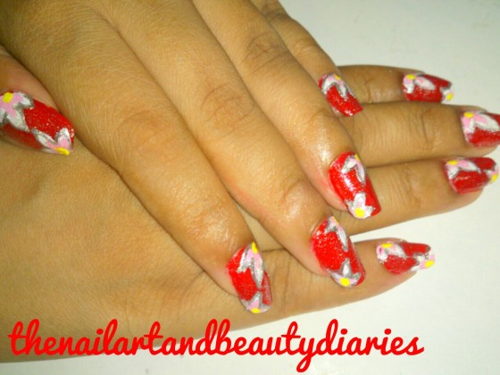 The Glittery Loud Red Nail Art