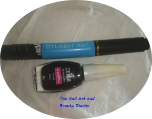 Items Used for Men In Black n Blue Nail Art
