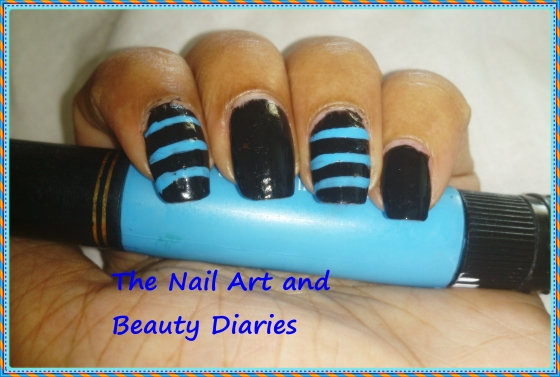 Men In Black n Blue Nail Art