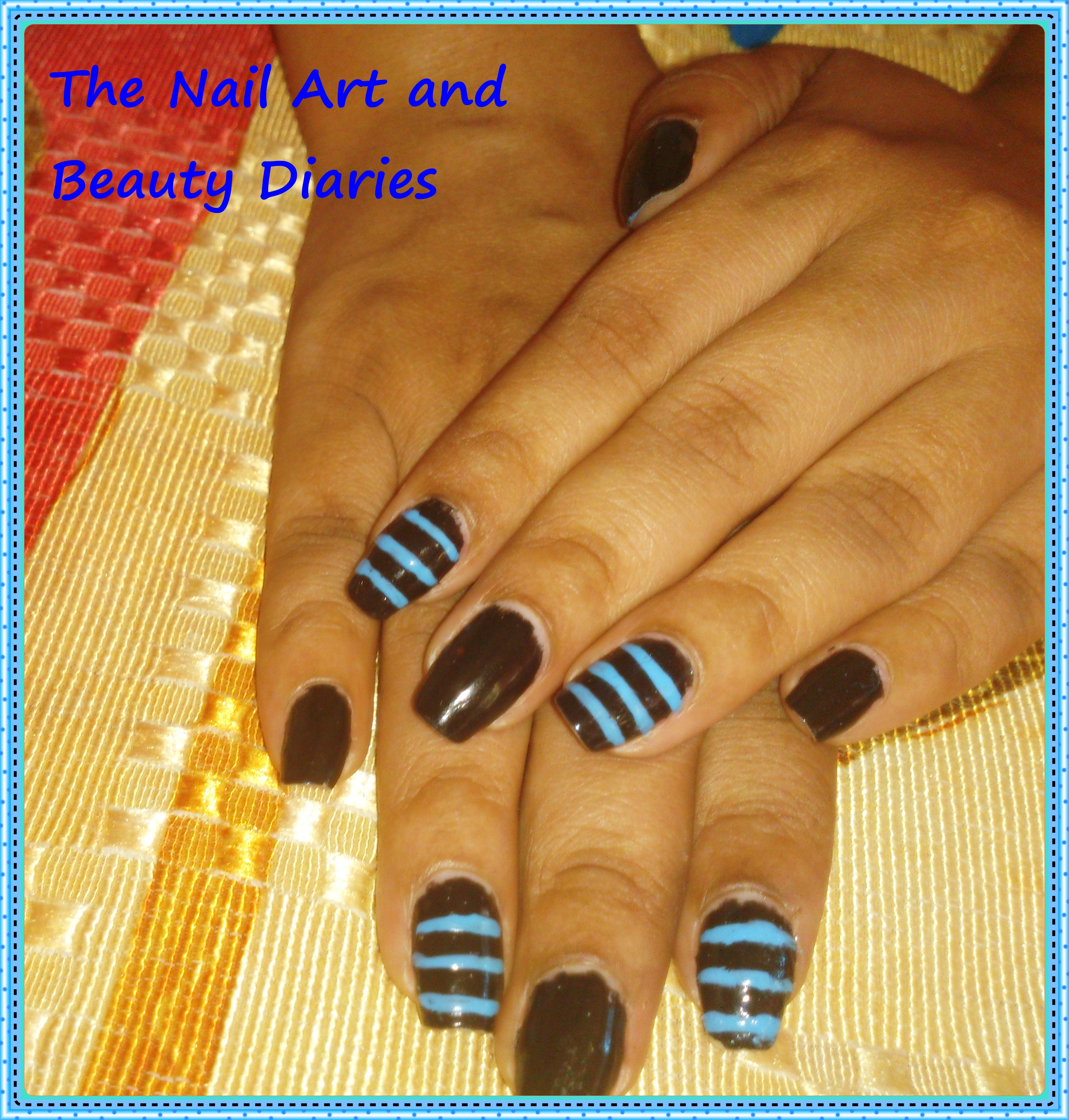 The Nail Art And Beauty Diaries: The Men In Black N Blue Nail Art