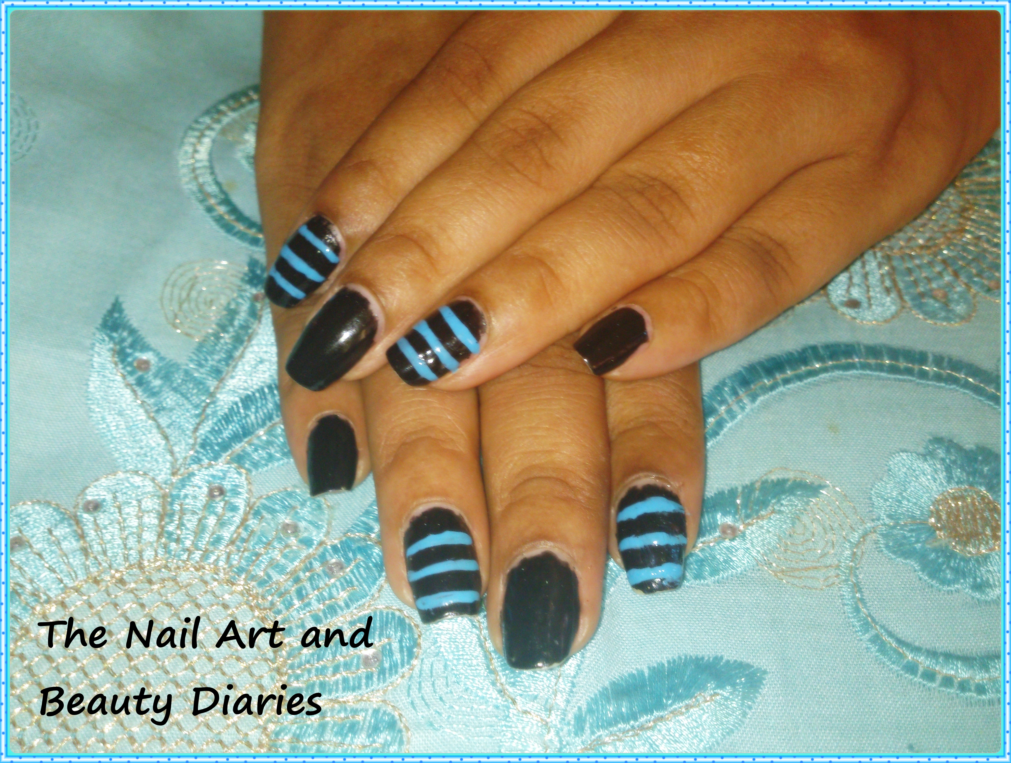The men in black n blue nail art the nail art and beauty diaries men in black n blue nail art prinsesfo Image collections