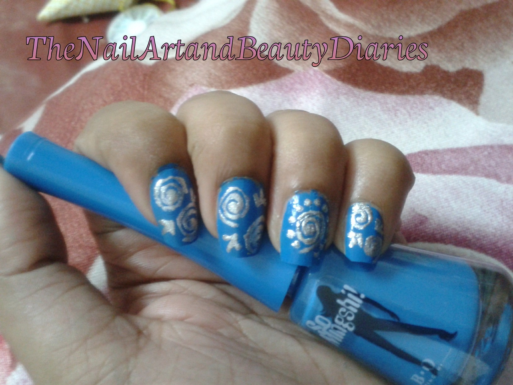 The Blue and Silver Swirls Nail Art | The Nail Art and Beauty Diaries