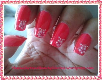 The Flowered Juicy Pink Nail Art 1
