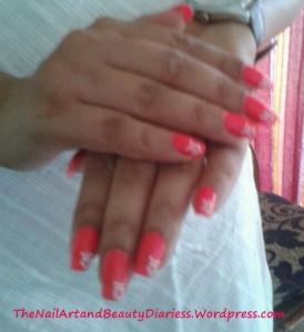 he Flowered Juicy Pink Nail Art