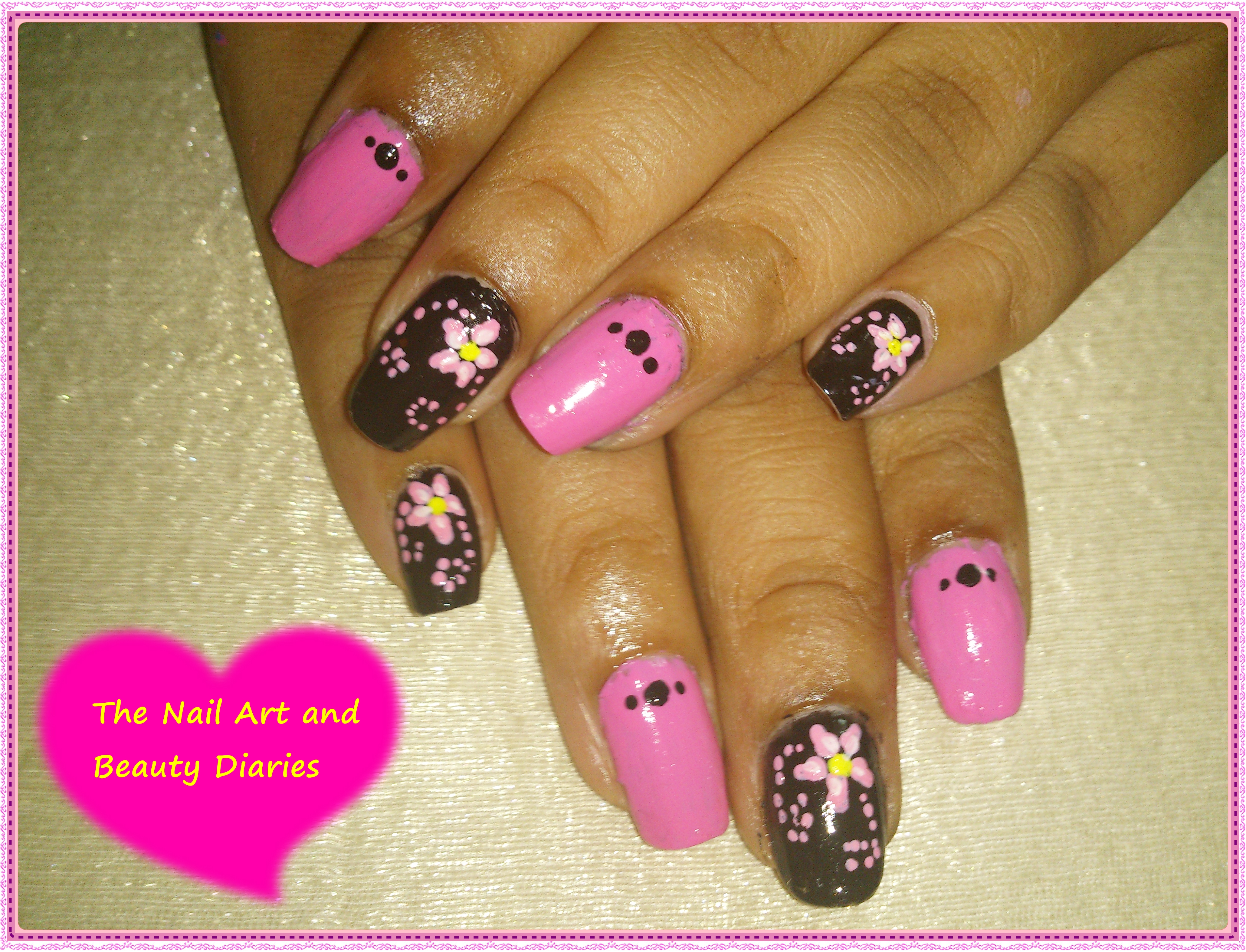 Easy At Home Nail Art 22 – The Pink Fairy and the Black Witch Nail ...