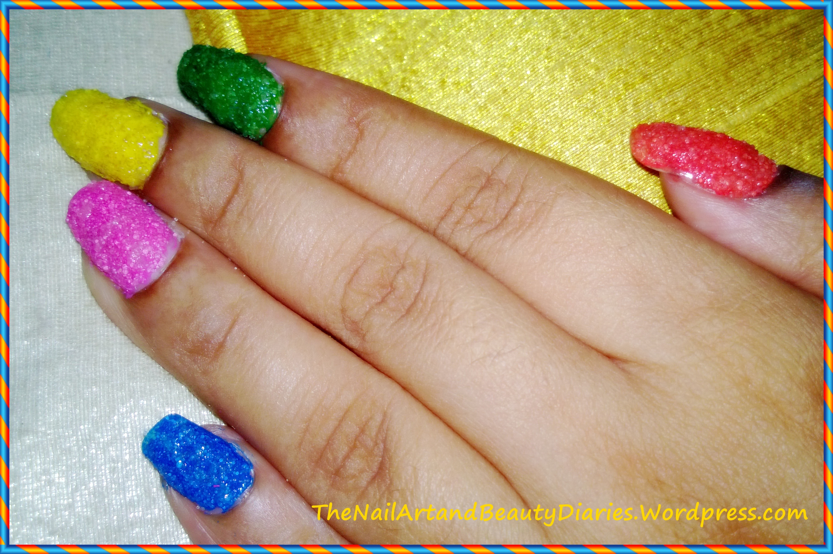 Easy at home nail art 27 diy summer textured nails with salt diy texured summer nails prinsesfo Image collections