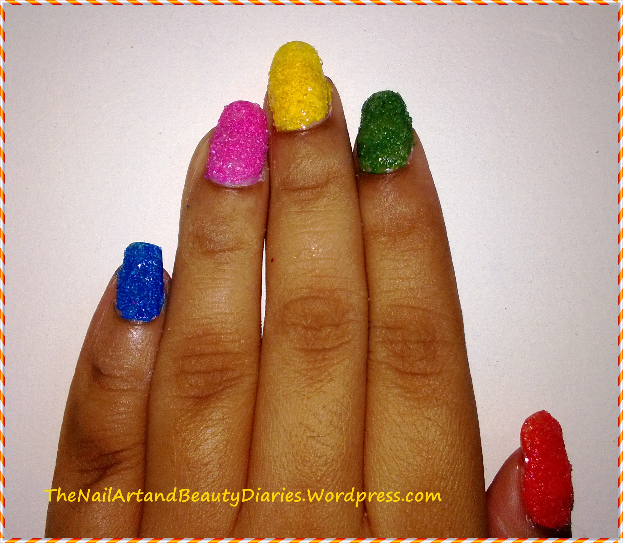 The Nail Art And Beauty Diaries: Easy At Home Nail Art 27 : DIY Summer Textured Nails With