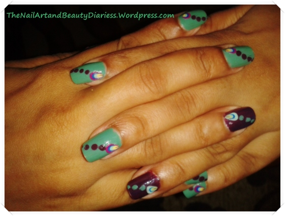 Mint With Hint of Black Currant Nail Art