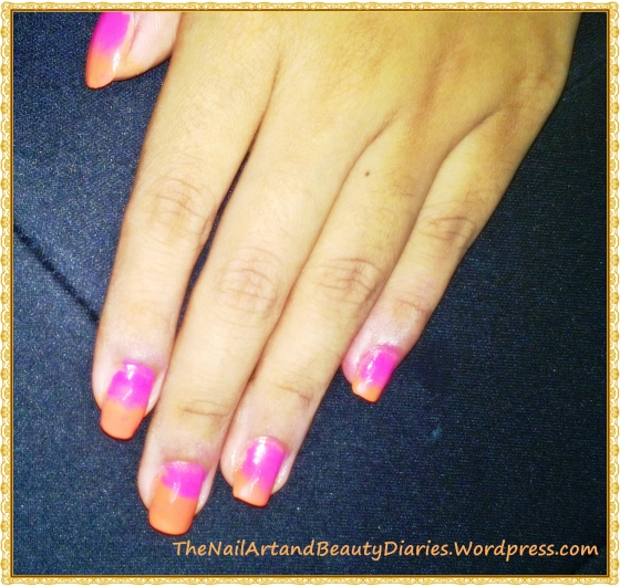 Ombre in Orange and Pink Nail Art