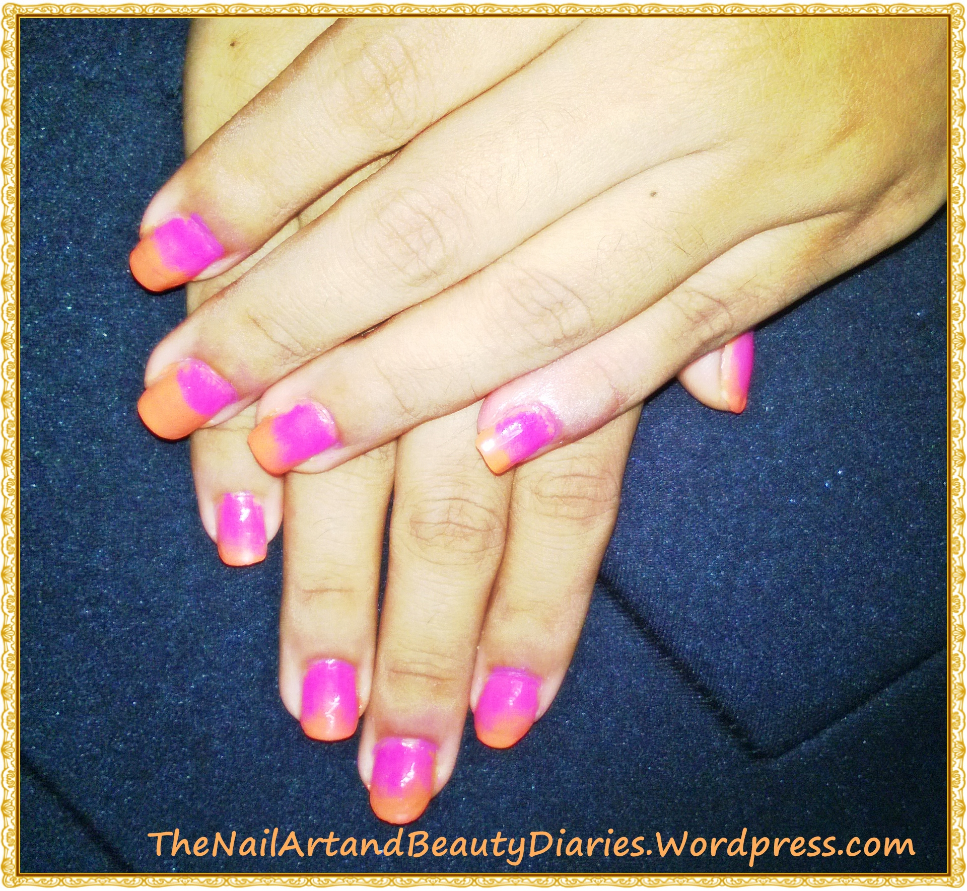 My First Attempt At Sponging Sunset In Orange And Pink Ombre The