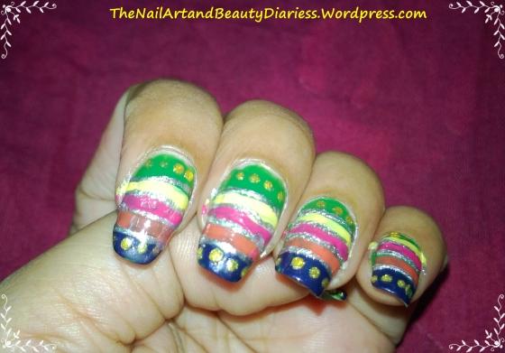 Traditional Indian Lehenga Inspired Nail Art
