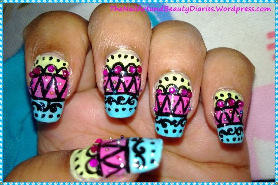 Tribal In Summery Pastels Nail Art