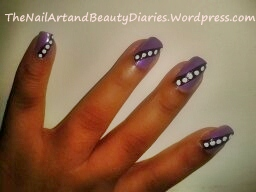 Dots over Stripe Nail Art