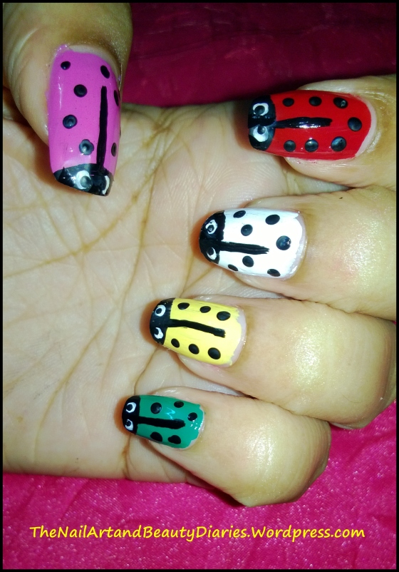Colorful Lady Bug Nail Art