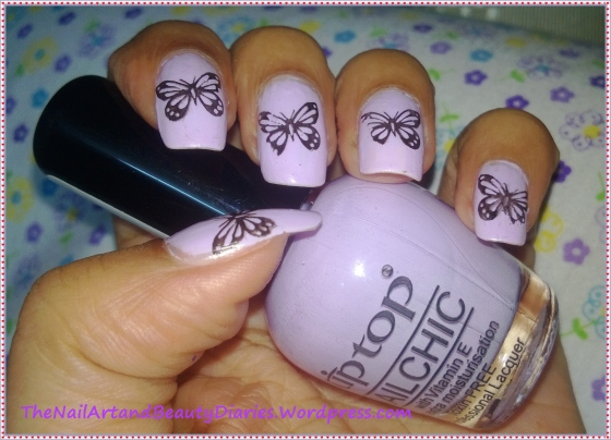 Simple Butterfly Stamping Nail Art
