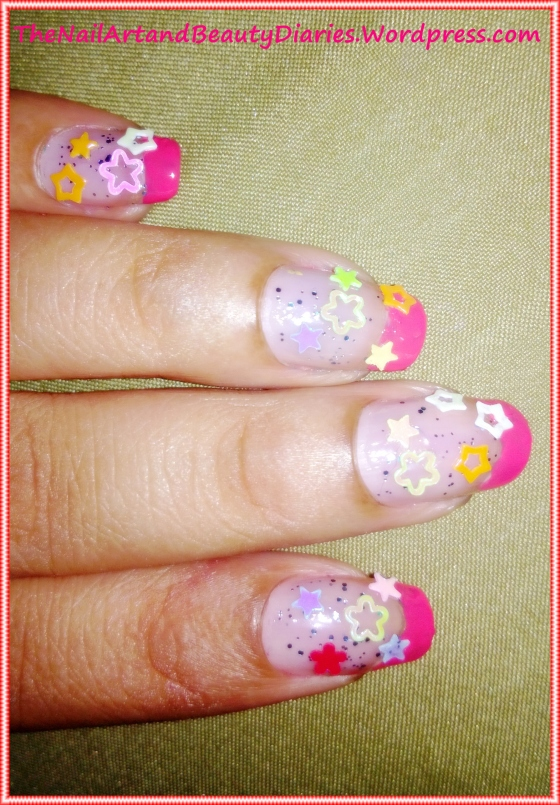 The Glitter and Stars Nail Art