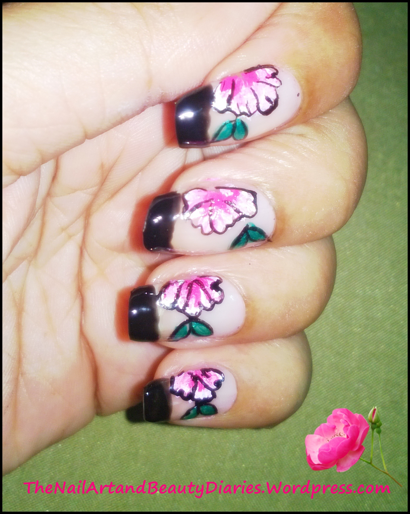 Floral Nail Art My First Attempt At One Stroke Painting The Nail