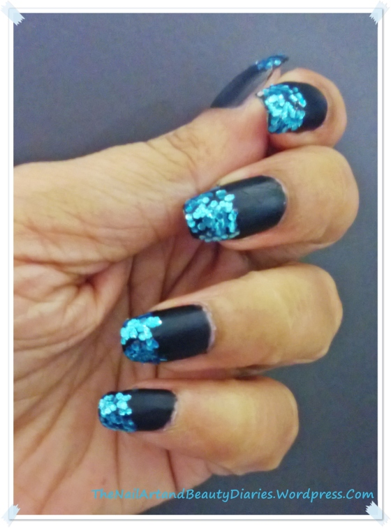 Dipped in Blue Sparkle Nail Art