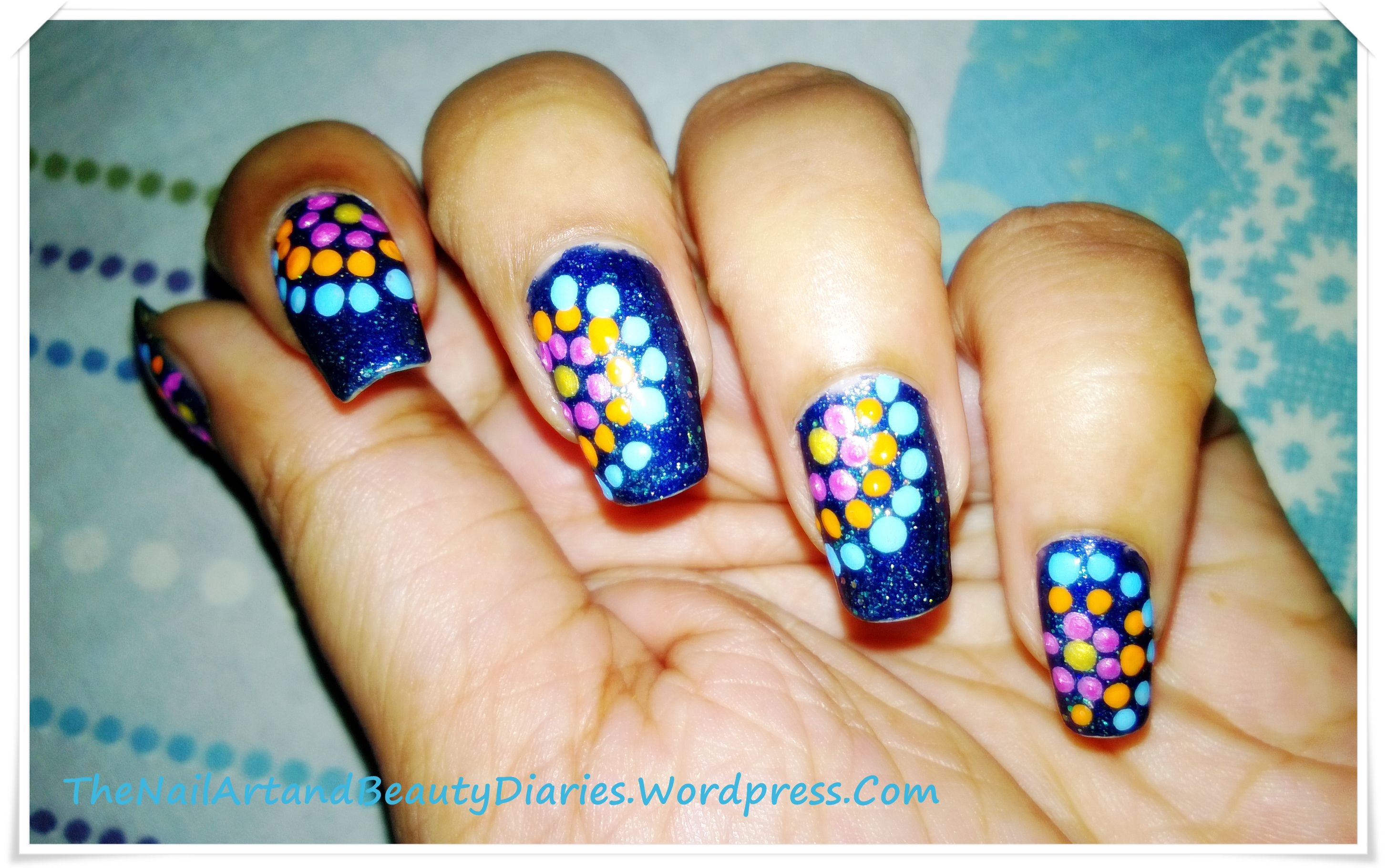 Dots on Night Sky Nail Art | The Nail Art and Beauty Diaries