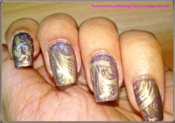 Curvy and Curly Stamped Gold Nail Art