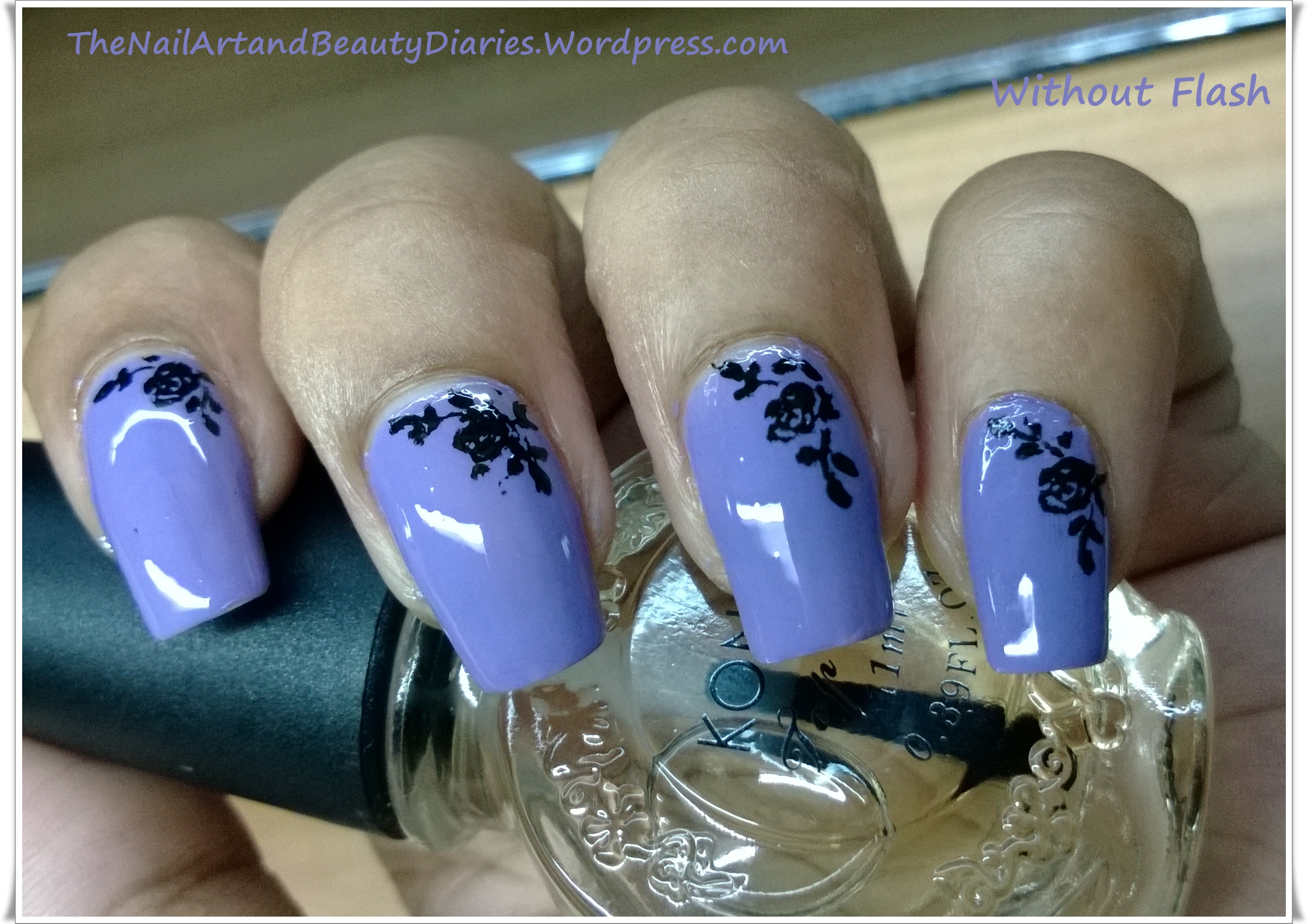 Delicate Rose on Lavender Nail Art | The Nail Art and Beauty Diaries