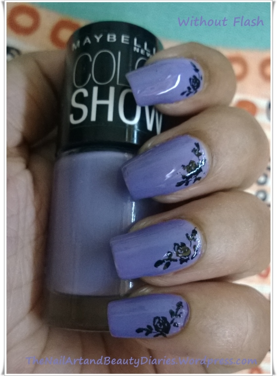 Roses on Lavender Nail Art