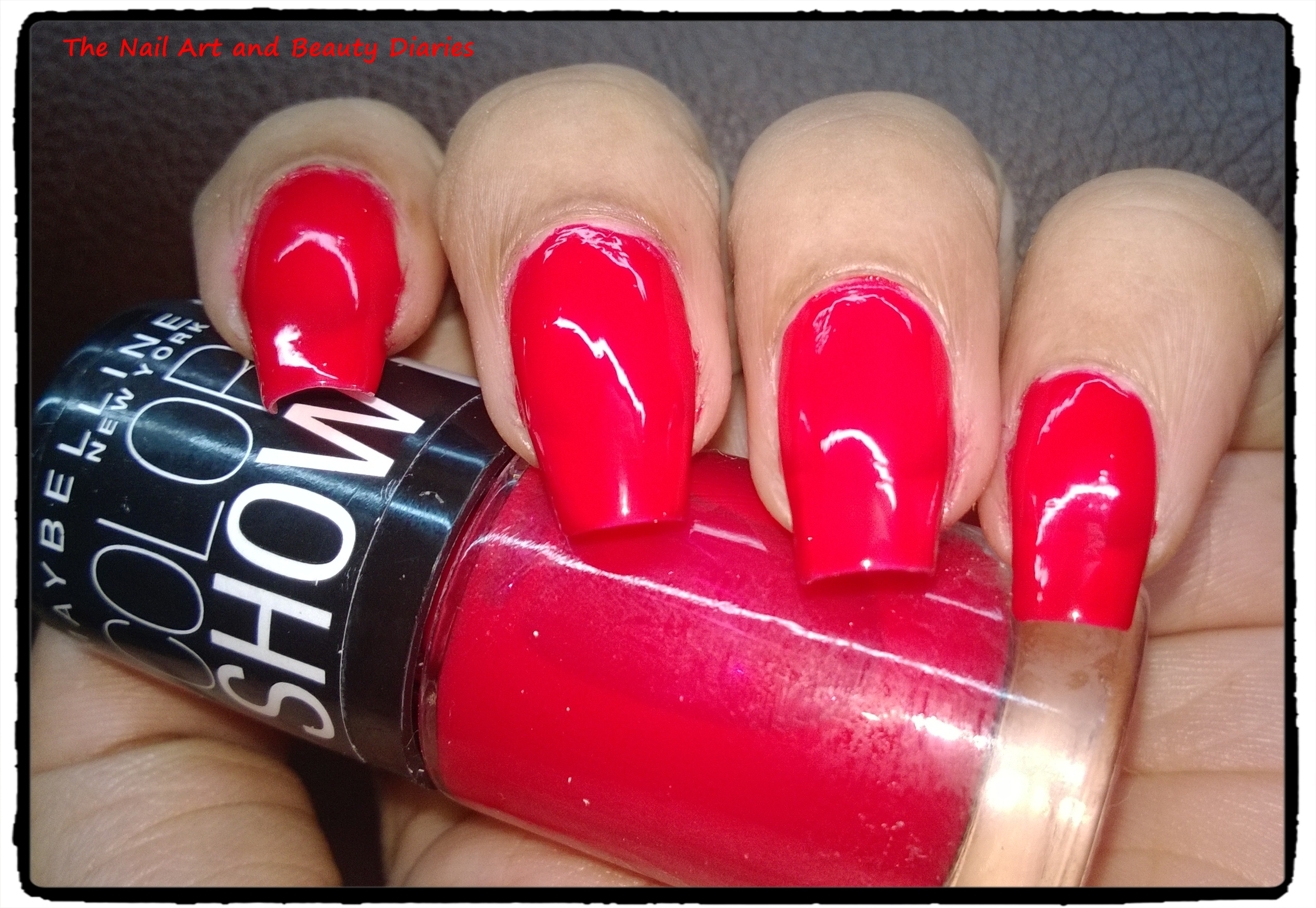 bold crimson nail polish