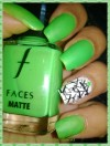 Envious Neon Green with Stamping on White Nail Art