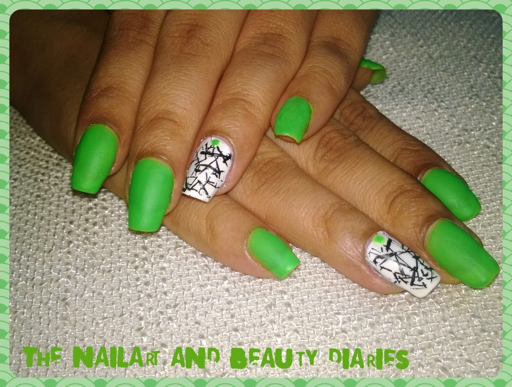 Envious Neon Green with Stamping on White Nail Art | The Nail Art ...