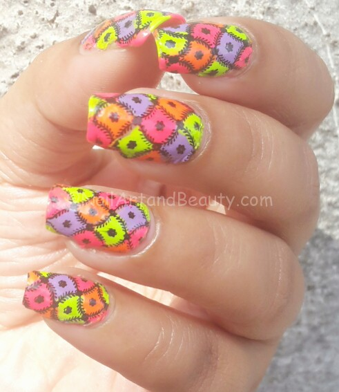 Neon Vintage Decal Nails