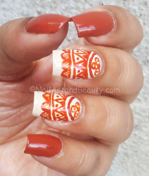 Barry M Paprika Swatches with Tribal Print Nail Art