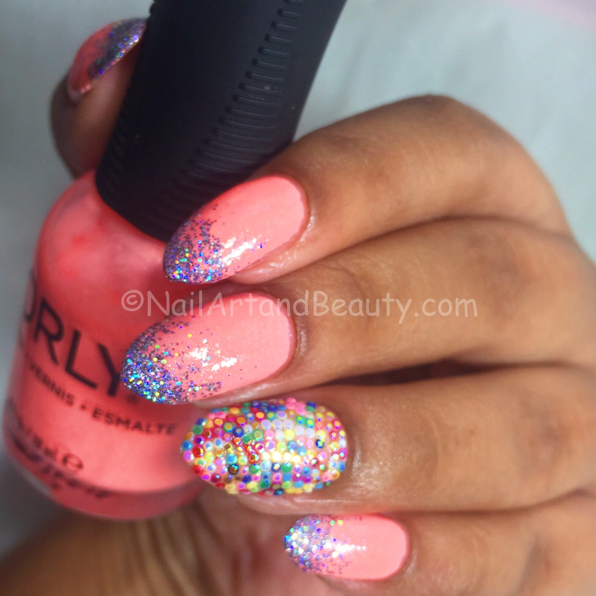 Glitter Placement Nails 1