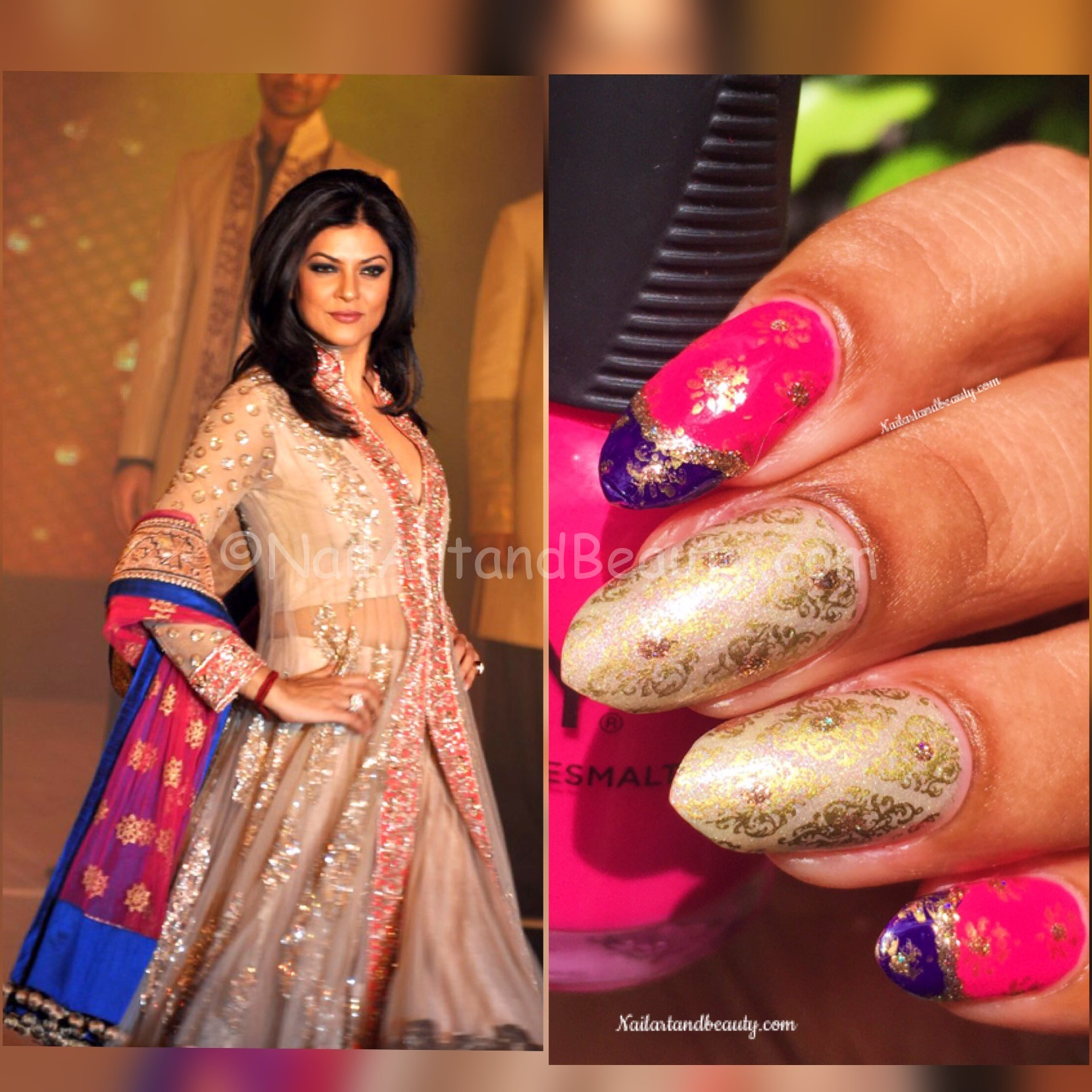 Nail Art Inspired by Sushmita Sen's Dress