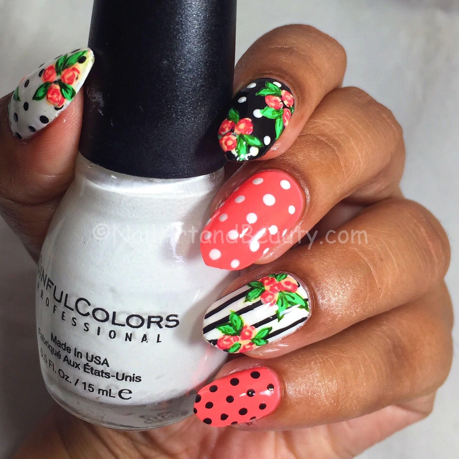 Polka Dot and Florals Mani