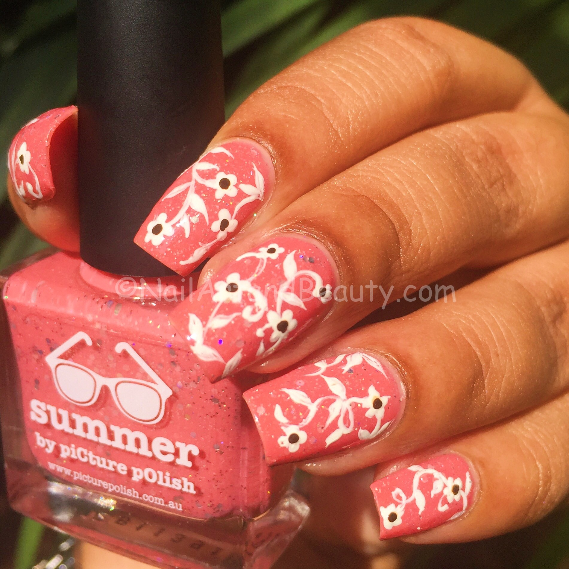 soft-floral vine on Picture Polish Summer