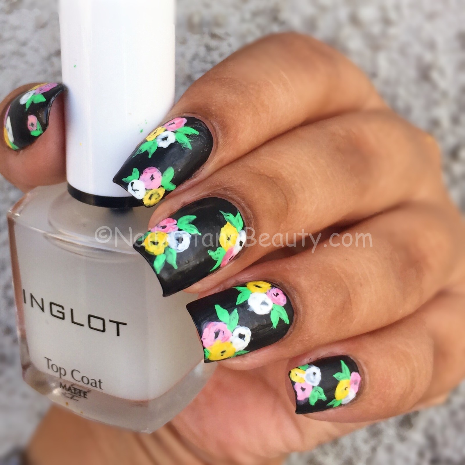 Black Floral Nails inspired by Wondrously Polished