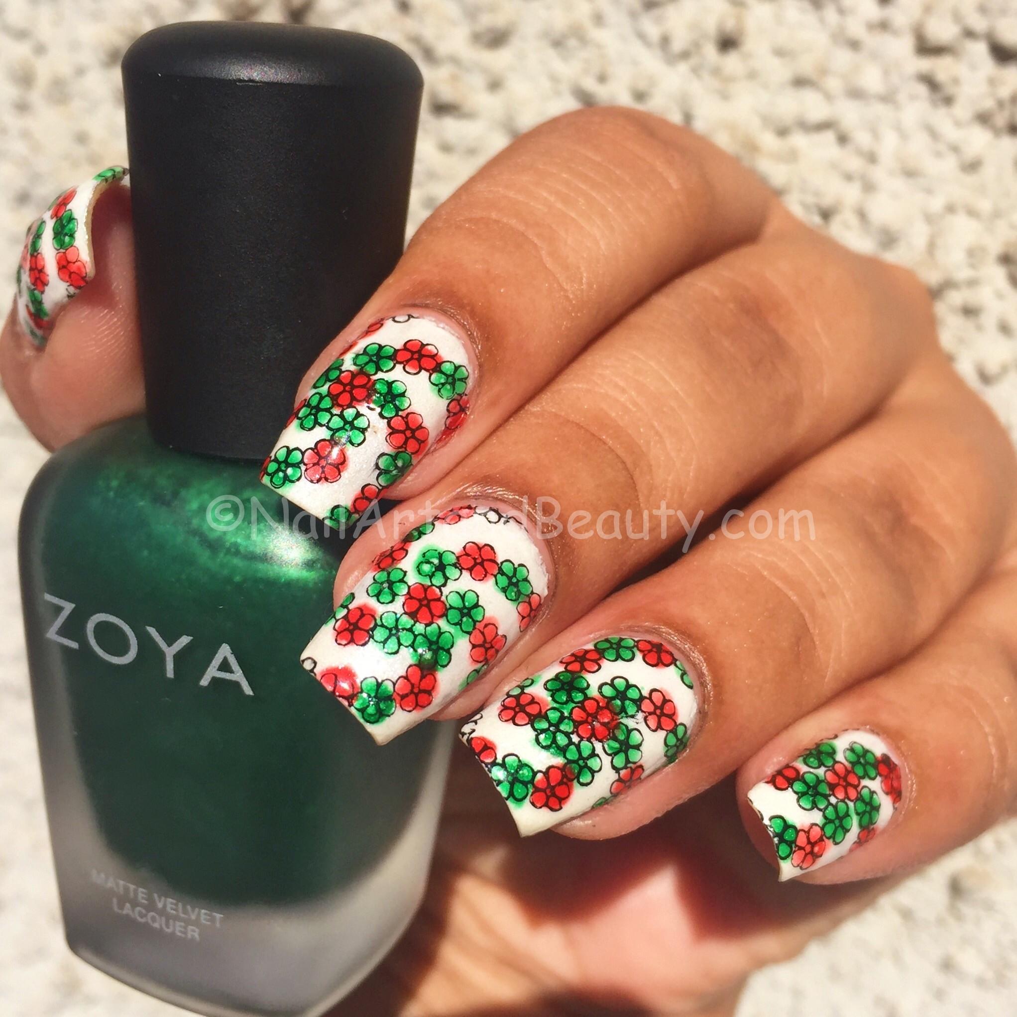 Christmas-y Floral Swirls Mani