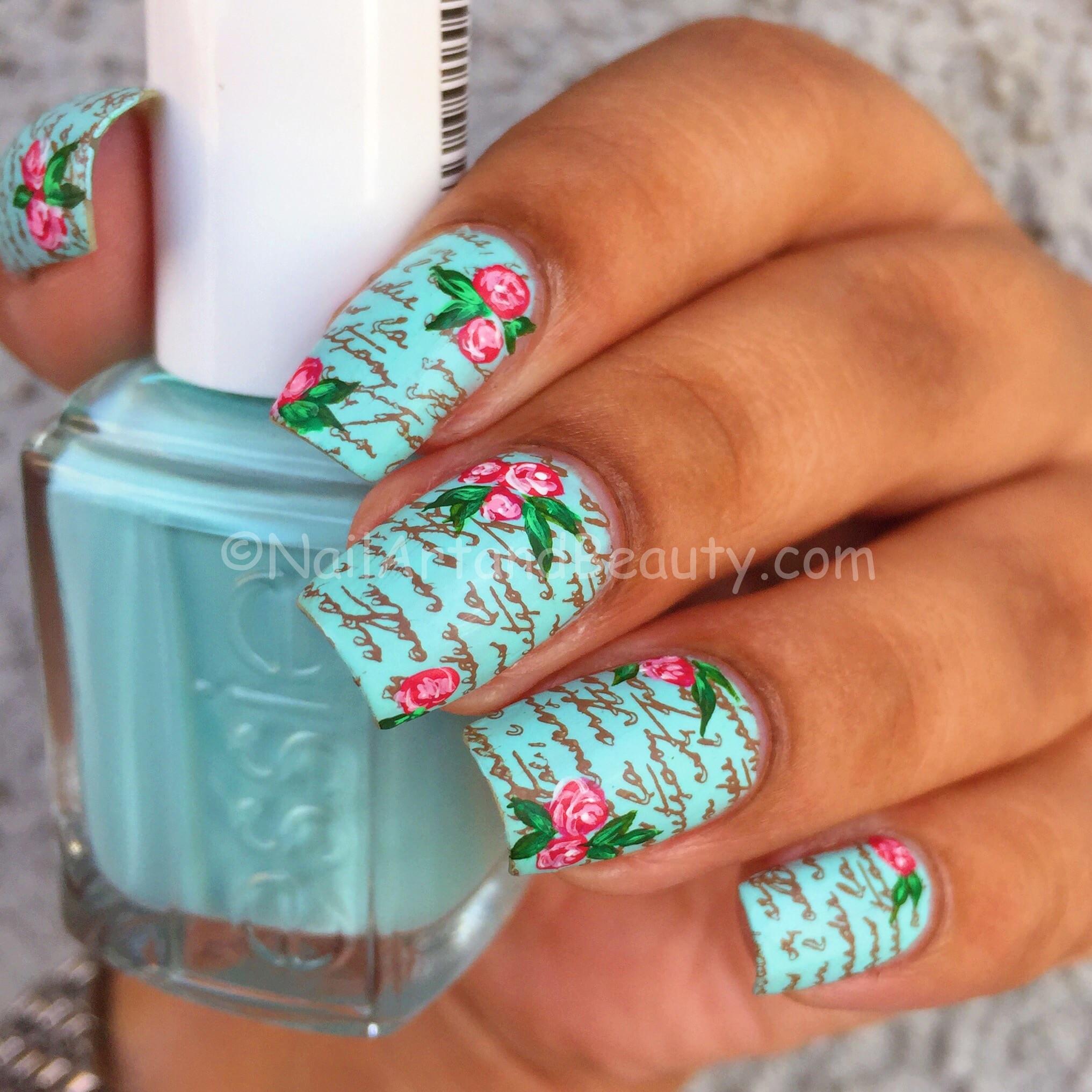 Rose Love Letter Nails