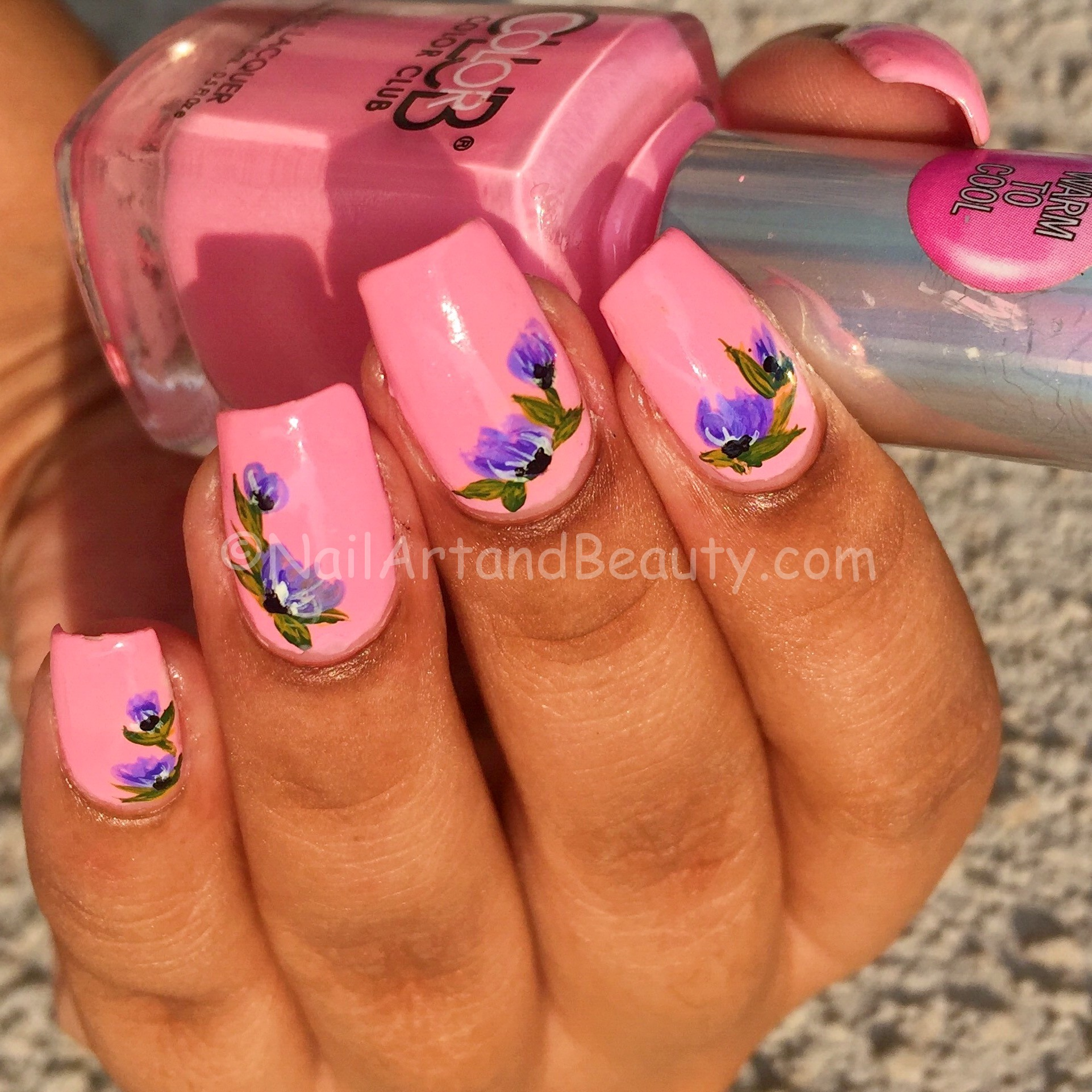 Purple Flowers on Candy Pink Nails