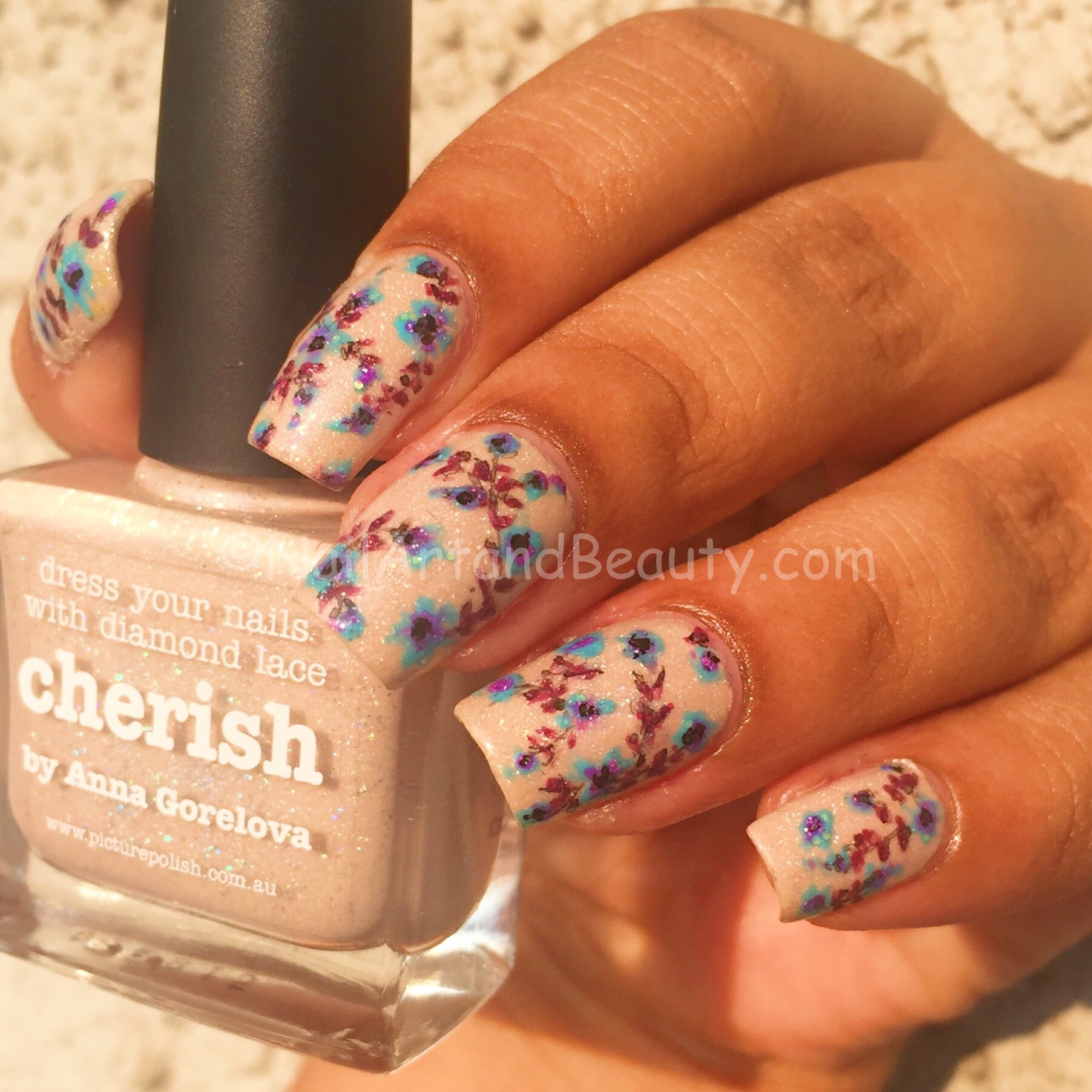 Floral Nails using only Picture Polish