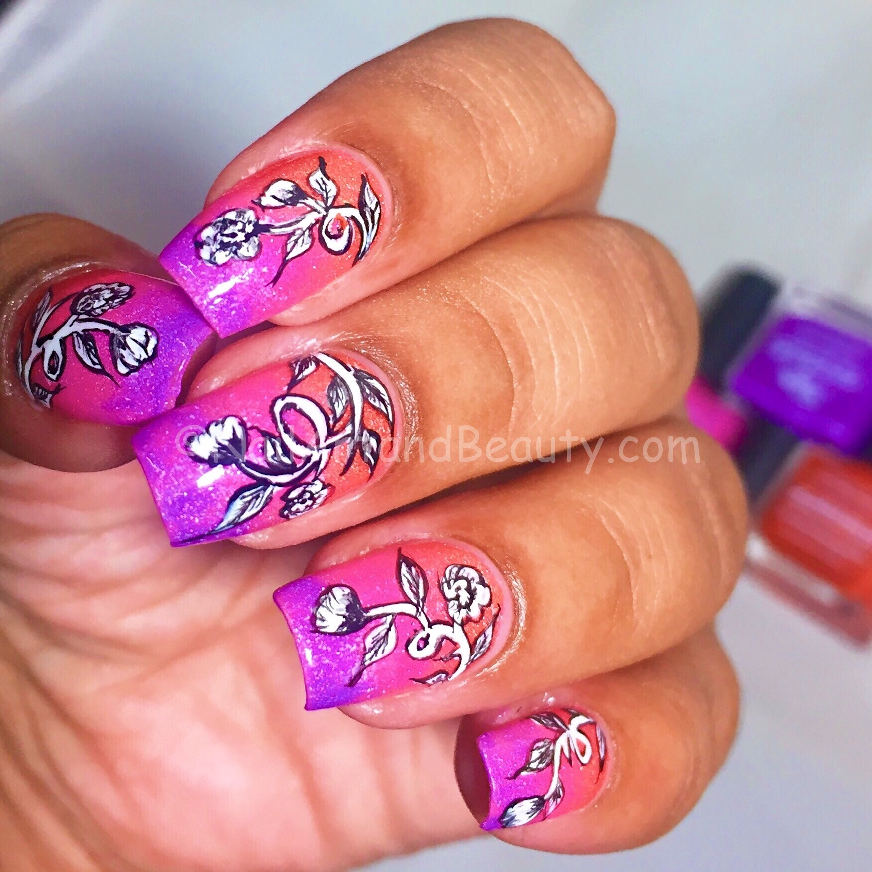 Freehand Vintage Florals on Bright Gradient
