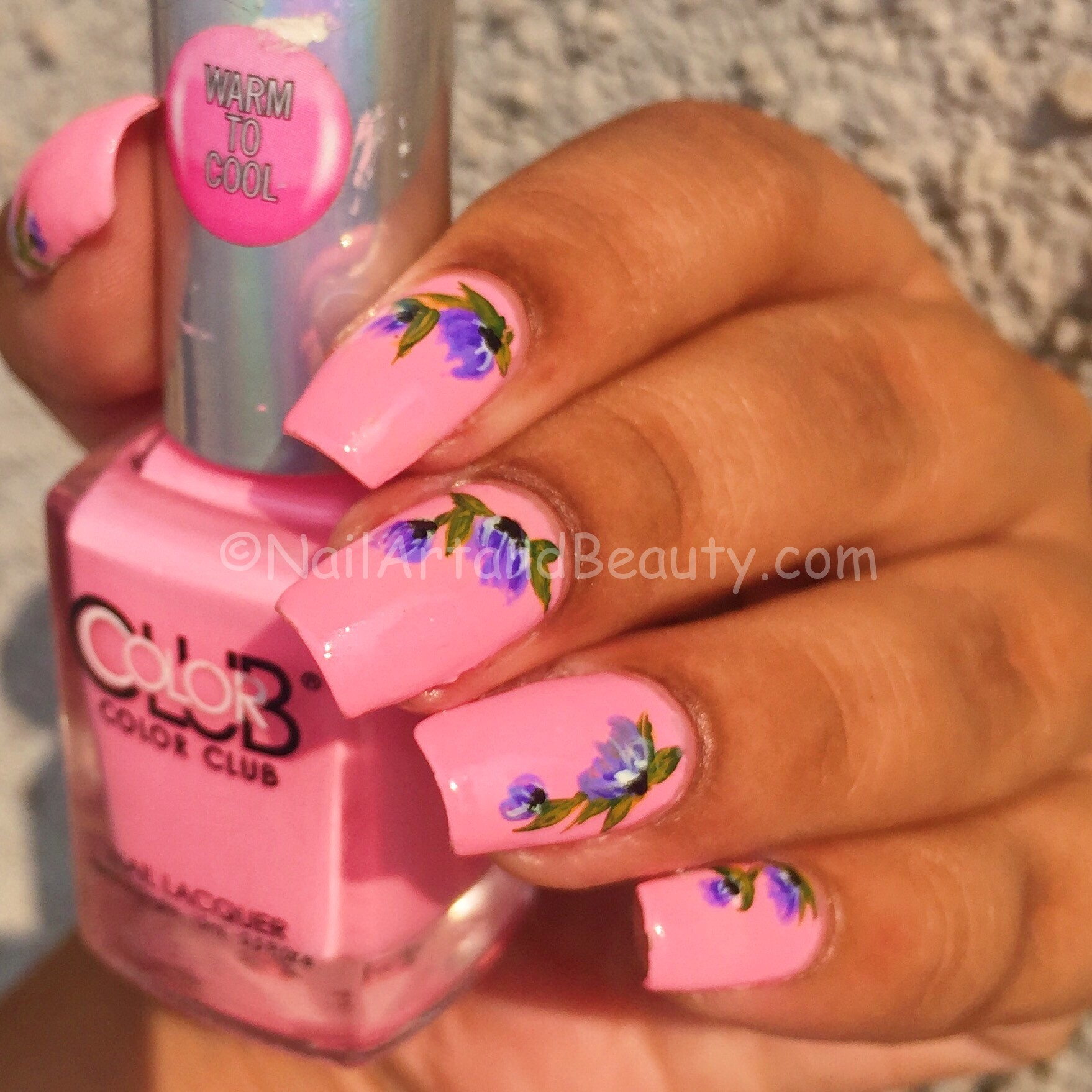 Pink and Purple Floral Nails