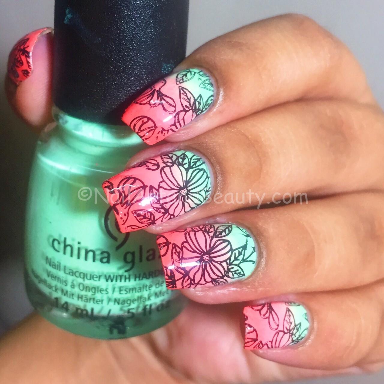 Soft Gradient Floral Nails