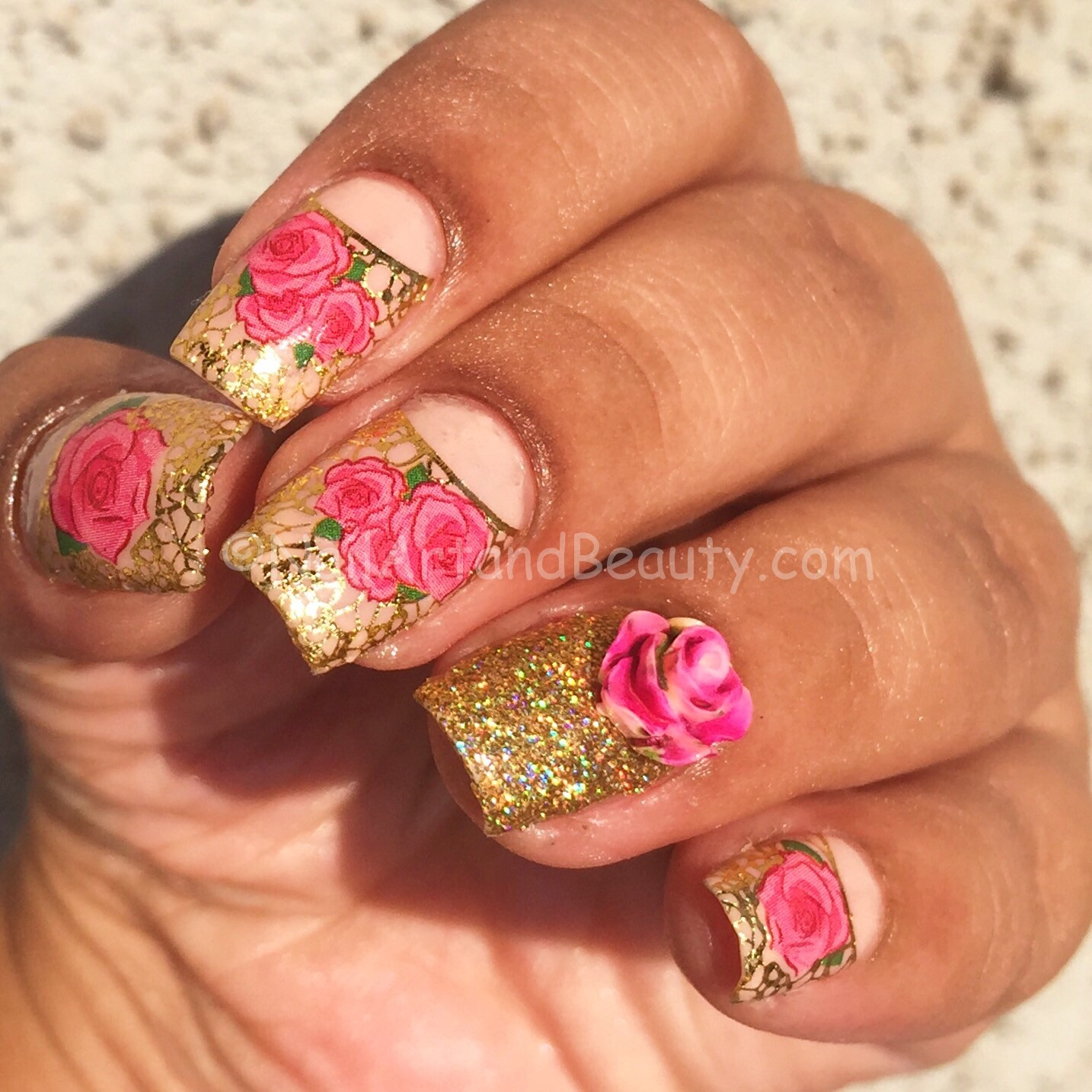 Gold and Roses Mani