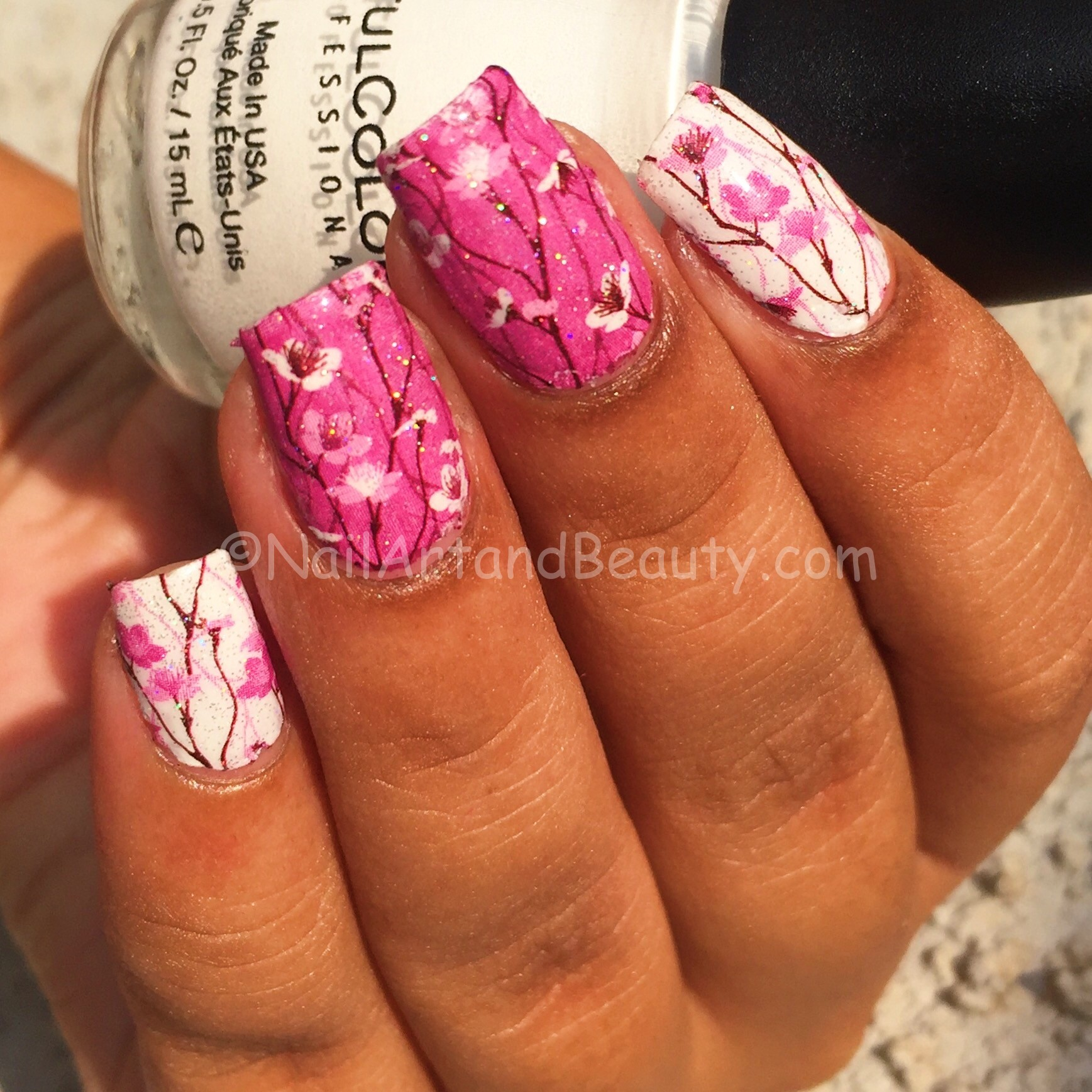 Cherry Blossom Nails using MILV Decals