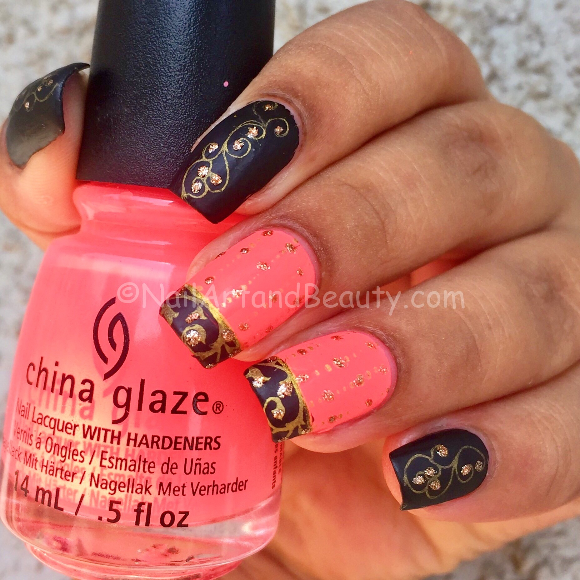 Bright Pink and Black Nails Inspired by Pari Choudhary