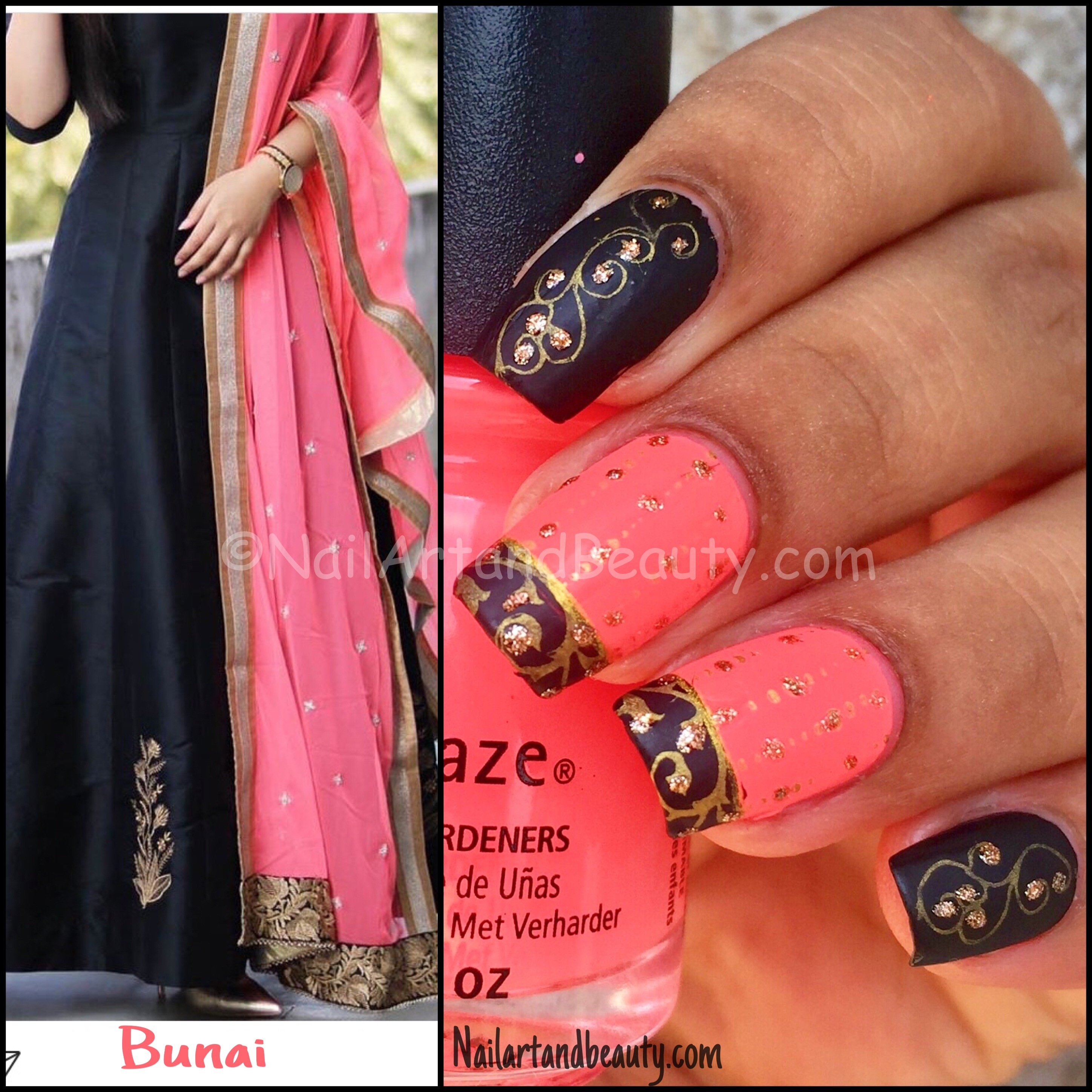 Bright Pink and Black Nails Inspired by Pari Choudhary Collage