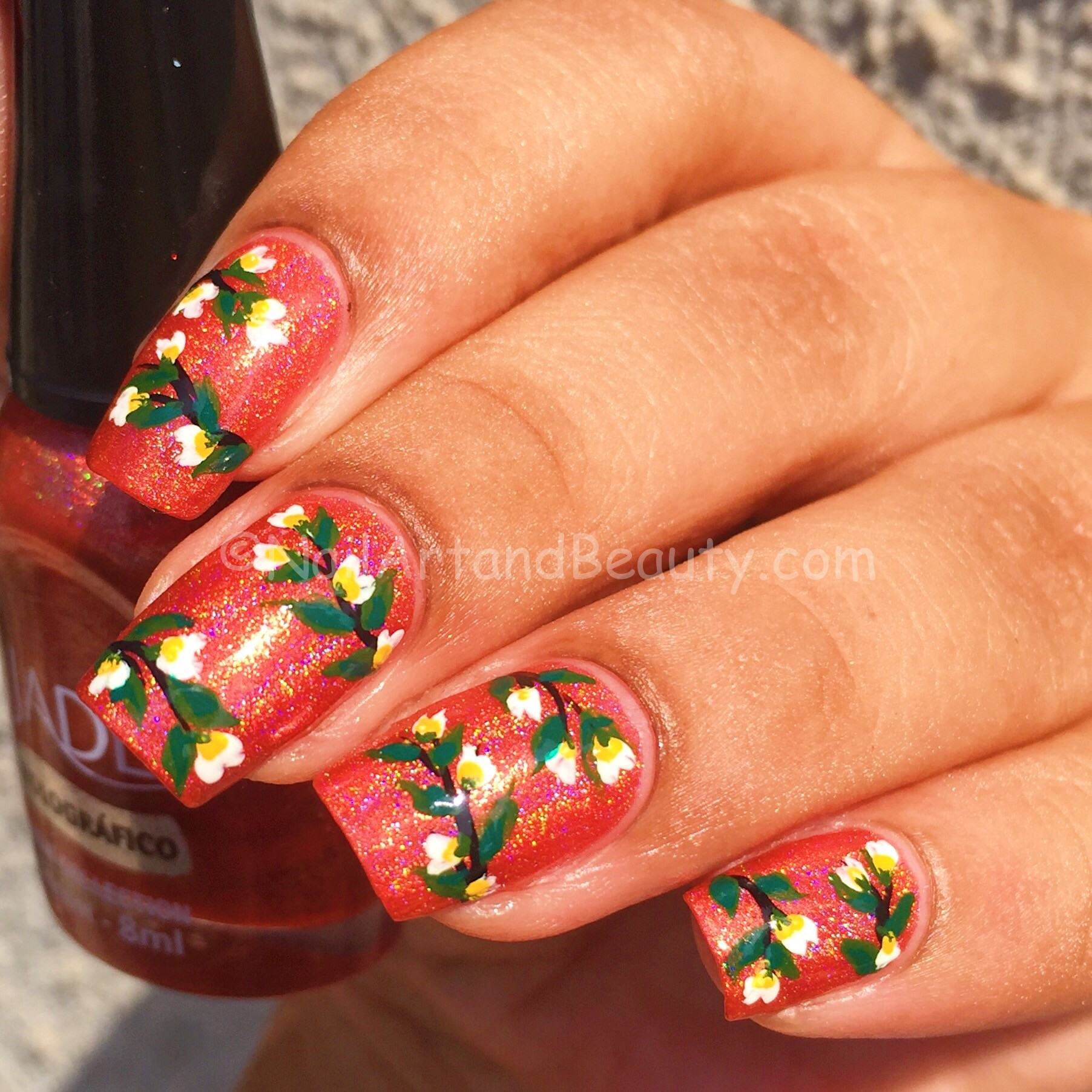 Florals on Jade Halographic Sunset